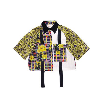 Semi-Sleeve Ribbon Shirt in Floral and White