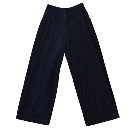 Flared Navy Corduroy Trousers