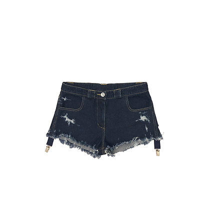 Distressed Demim Shorts with Suspender Clips