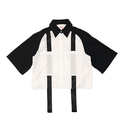 Semi-Sleeve Ribbon Shirt in Black and White