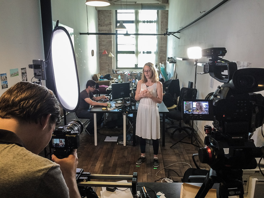Aputure lights during a corporate shoot