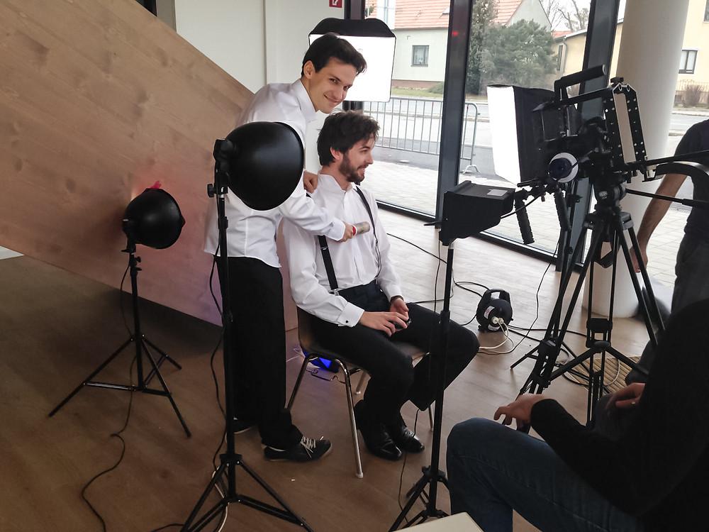 Ivan and Florian having fun on set