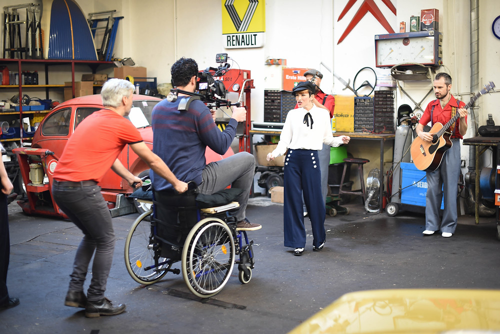 Wheelchair dolly in motion