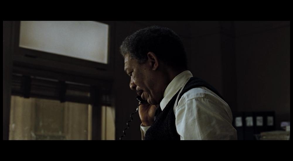 David Fincher Film Analysis Profile Shot - Somerset on the phone