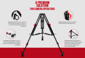Cartoni RED LOCK tripod leg system for camera operators