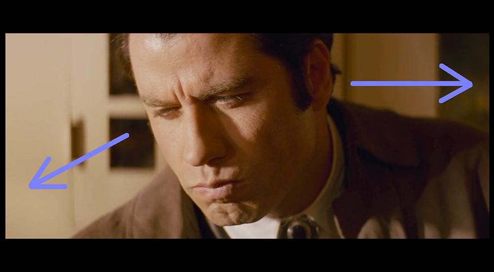 Close up Shot of John Travolta (Vincent) - Pulp Fiction
