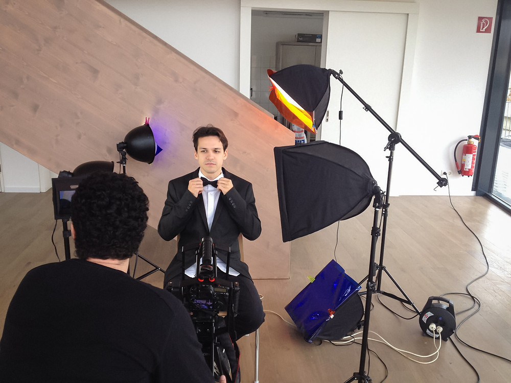 Ivan getting ready in front of the camera
