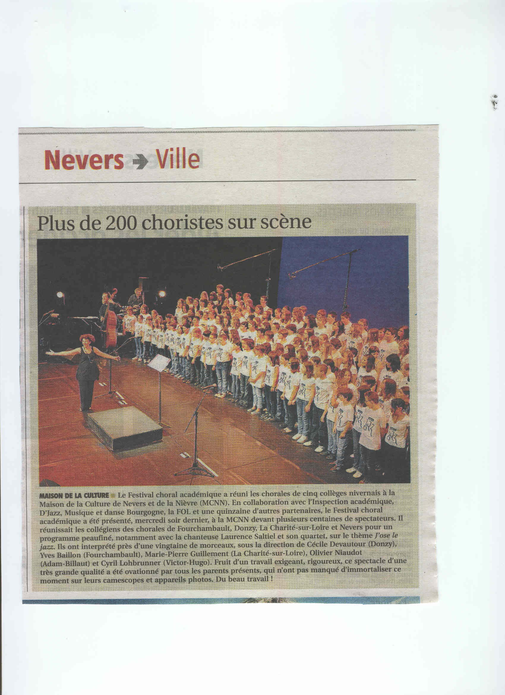 JOURNAL DU CENTRE  NEVERS -J'OSE LE JAZZ 18 JUIN 2010