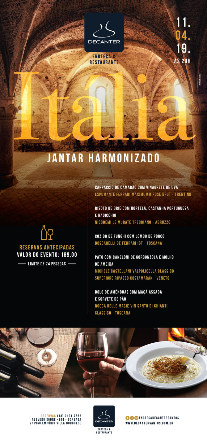 JANTAR HARMONIZADO ITALIA