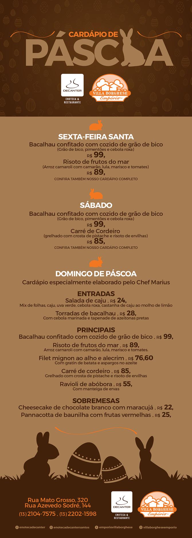 MENU DE PÁSCOA