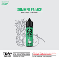 During  the hot weather, get last with us in our own paradise we call the SUMMER PALACE. Let the combination of pineapple and blackcurrant with a subtle hint of coconut juice ice you down.  AVAILABLE IN : Short Fill, 0, 3, 6 mg BLEND : 70VG/30PG
