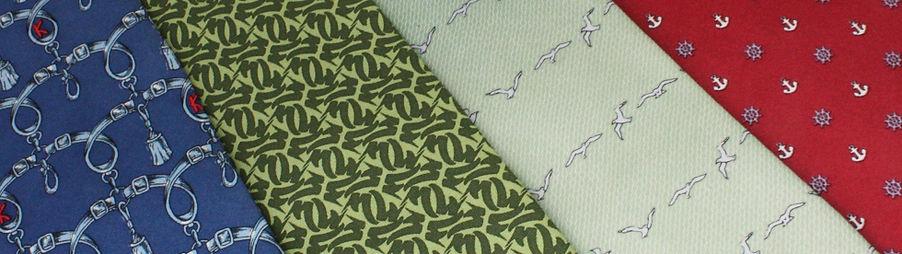 ネクタイファクトリーの捺染方式のプリントネクタイ