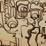 Variaciones sobre un mismo tema  1978 Plumón / papel 85 cm x 111 cm