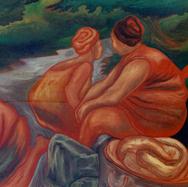 Mujeres en el río 1991 Acrílico / tela 120 cm x 150 cm