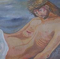 Cristo recostado 2000 Acrílico / madera 80 cm x 106 cm