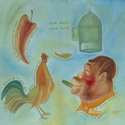 Jaula abierta, pájaro muerto 1996  Óleo / tela 80 cm x 90 cm