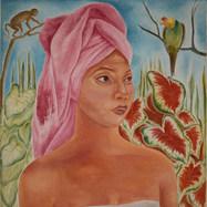 La toalla rosa 1992 Acrílico / tela 113 cm x 80.5 cm