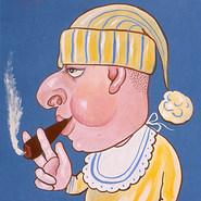 "Lic. César Saucedo. ""Yo soy un nene muy sano porque me gusta el habano"" 1966 Gouache / papel 70.8 cm x 57.2 cm"