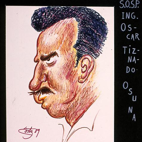"S.O.S.P. Ing. Oscar Tiznado Osuna. ""En esta Secretaría cualquiera zozobraría"".. 1989 Plumón / papel 42.4 cm x 33 cm"