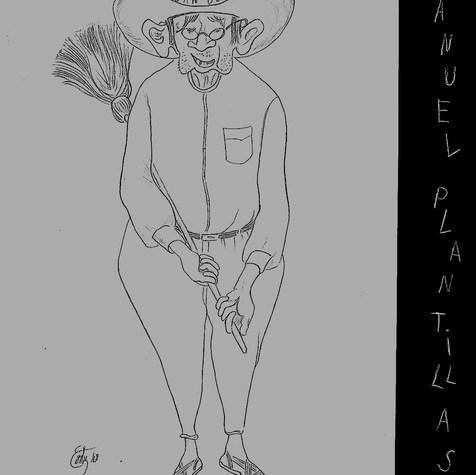"""Manuel Plantillas. """"Barría las colillas y sobaba las pantorillas"""" 1968 Lápiz / papel 52.2 cm x 33 cm"""