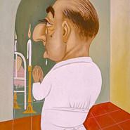 """Dr. Gutiérrez Camarena. """"Yo te ofrezco, San Vicente el alma de este paciente"""" 1968 Acrílico / papel 74.7 cm x 64 cm"""