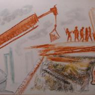 Terremoto II 1985 Acrílico y pastel / cartón 65.5 cm x 81.5 cm