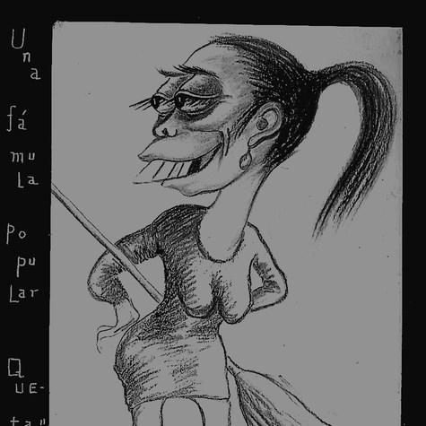 """Una Fámula Popular, Queta. """"Yo era la que barría en casa de Echevarría"""" 1952 Carbón / papel 58.5 cm x 40.5 cm"""