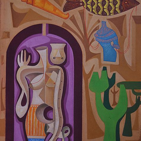 El arco abierto 1970 Acrílico / masonite 114.1 cm x 84 cm