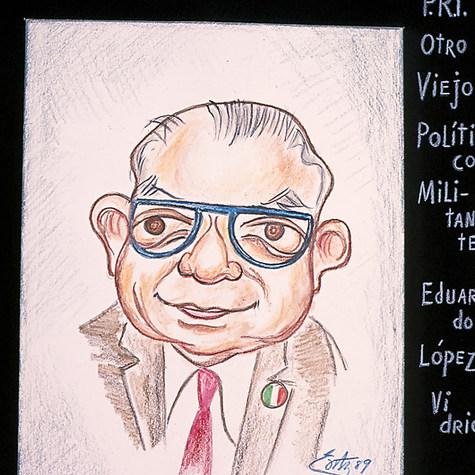 Eduardo López Vidrio, PRI. Ahora luzco diferente con doble vidrio en los lentes.. 1989 Pastel / papel 45 cm x 33 cm