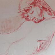 Cristo recostado s/f Sanguina / papel 49 cm x 66 cm