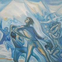 Huelga estudiantil 1980 Óleo / tela 63.5 cm x 83 cm