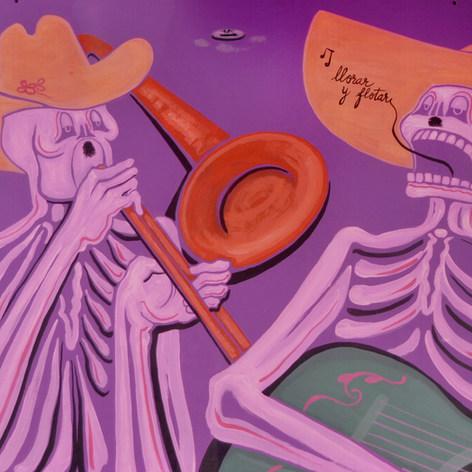El mariachi Nayarit 1976 Acrílico / cartón 87 cm x 116.4 cm