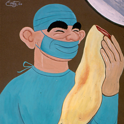 """Dr. Ignacio Cuesta Barrios. """"Sería mi fortuna inmensa si esta pata colgara en mi despensa"""" 1966 Acrílico / papel 75.4 cm x 64.4 cm"""