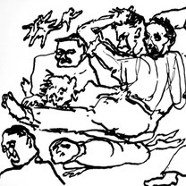Trifulca 1977 Plumón / cartón 54.2 cm x 70 cm