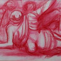 Concentración infrahumana 1980 Crayón / papel 58 cm x 70 cm