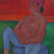 Pescador en Miramar 2003 Acrílico / papel 114 cm x 82 cm