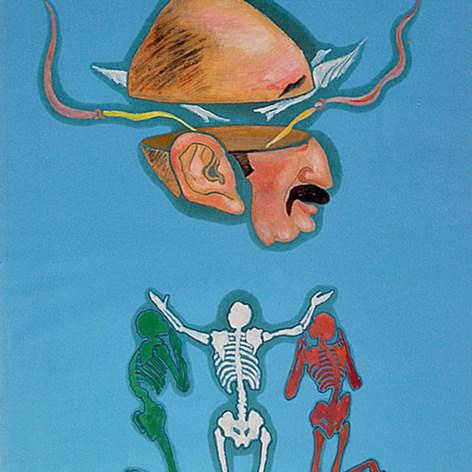 Y de rodillas postrados 1987 Acrílico / papel 74.5 cm x 59 cm