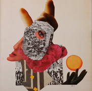 Pierrot y la luna 1985 Collage / cartón 53.7 cm x 45.8 cm