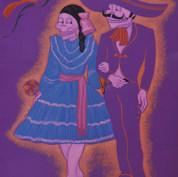 Epitafio: Los charros y las charritas forman lindas parejitas y procrean cuando se casan, hijos calaveritas 1976 Acrílico / cartón 109.5 cm x 83 cm