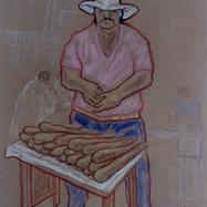 Vendedor de pescado tatemado 1996 Pastel al óleo / papel 39 cm x 33 cm