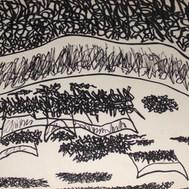 Huelga de trabajadores II 1989 Plumón / cartón  40.9 cm x 51.1 cm