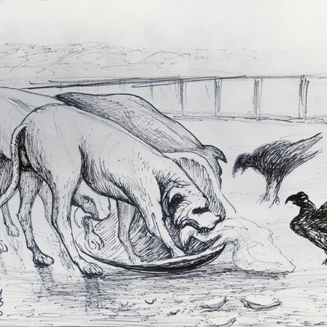 Perros comiendo 1975 Tinta / papel 46 cm x 60.5 cm