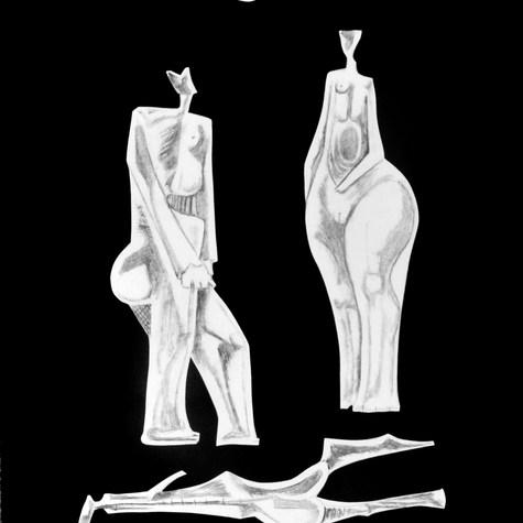 Luna menguante 1995 Lápiz y recortes de papel / cartón 74.1 cm x 59.6 cm