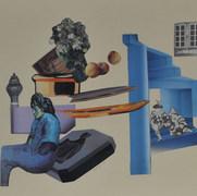 Los arlequines de Picasso 1989 Collage / cartón 50.5 cm x 61.2 cm