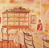 Consuelo en el comedor de mi casa 1990 Óleo / tela 120 cm x 150 cm