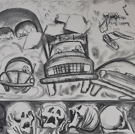 Después de la campaña 1976 Crayón y carbón /cartón 72 cm x 87 cm