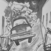 A eso de media noche 1976 Crayón y carbón / cartón 71.5 cm x 66.2 cm