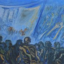 Masas en huelga 1978 Óleo / madera 30.9 cm x 58.5 cm