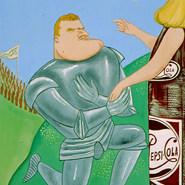 """Manuel González Navarro. """"Señora: Aunque a la postre me rinda la fatiga, abatiré las hordas enemigas"""".. 1966 Acrílico / papel 48.2 cm x 38.8 cm"""
