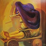 Mendiga con flauta 1956 Óleo / tela 92.5 cm x 73 cm